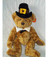 "RUSS BERRIE PLUSH 13"" GOLD THANKSGIVING BEAR PLYMOUTH RET NWT MINT MSRP ... - $23.94"