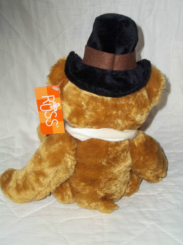 "RUSS BERRIE PLUSH 13"" GOLD THANKSGIVING BEAR PLYMOUTH RET NWT MINT MSRP $25"