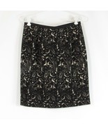 Black ivory abstract cotton blend TALBOTS pencil skirt 4P - $19.99