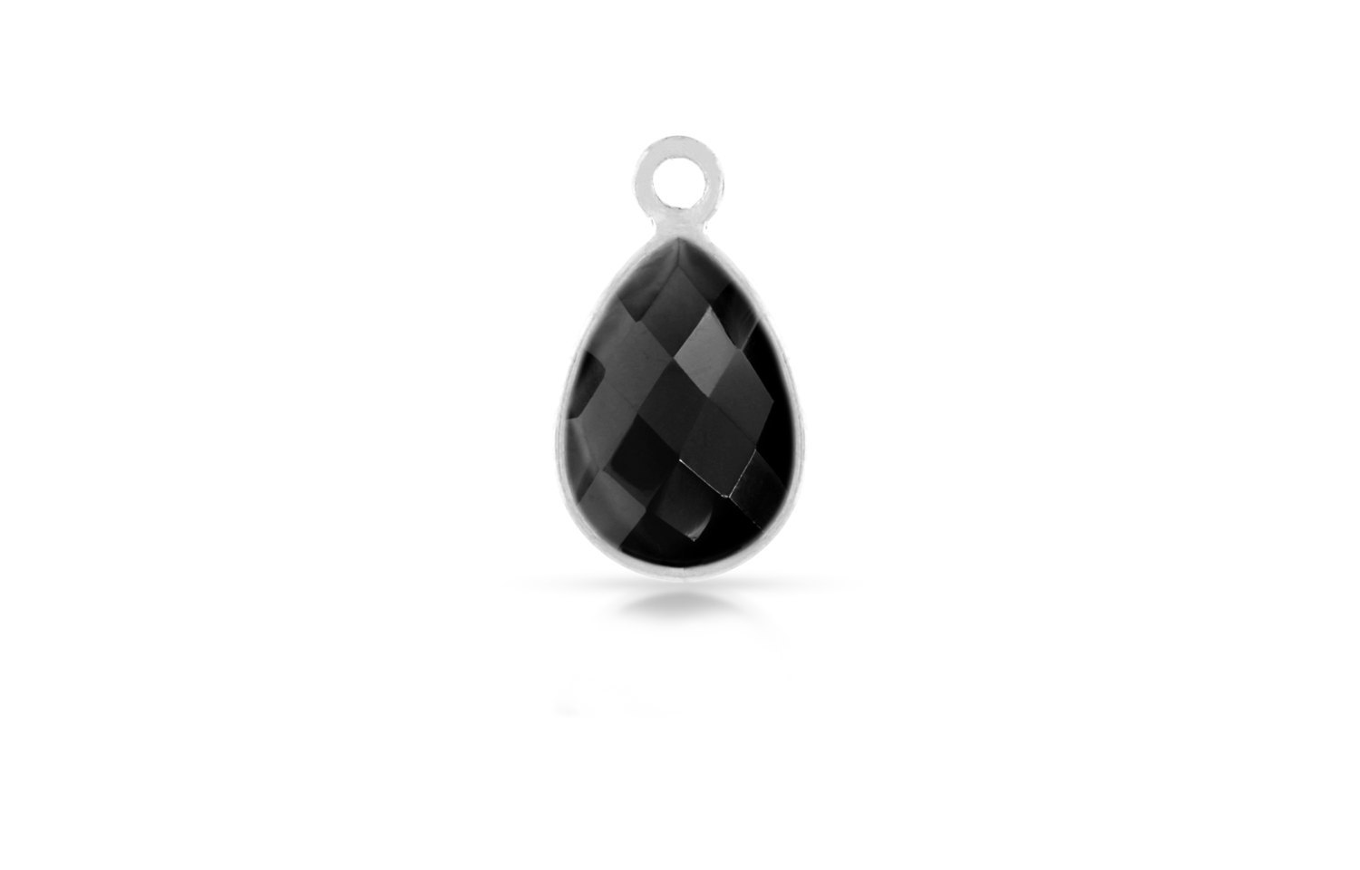 Primary image for Drop, Faceted Black Onyx, Pear Shape, Sterling Silver, 14x10mm, 1pc (6230)/1