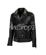 New Men's Philip Plein Full Black Spiked Studded Unique Punk Leather Jacket - $369.99