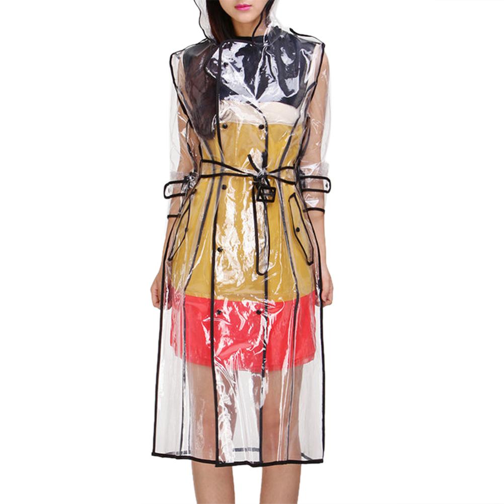 Transparent Women Raincoat With Belt Long Waterproof Jacket Windbreaker Poncho