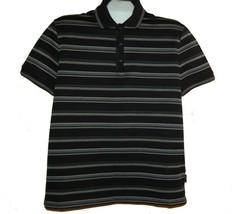 HUGO BOSS Black Stripes Regular Fit Cotton Polo MEN'S T-Shirt L Good Condition - $38.60