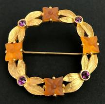Lia Sophia Gold tone Metal Purple Rhinestone Floral Circular Brooch Pin - $18.38