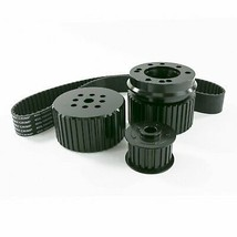 Chevy Small Block SBC Long Water Pump Gilmer Style Pulley Kit (BLACK)