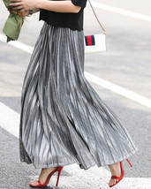 SILVER SKIRT Pleated Skirt Women High Waisted Full Pleated Party Skirt US0-US18 image 5