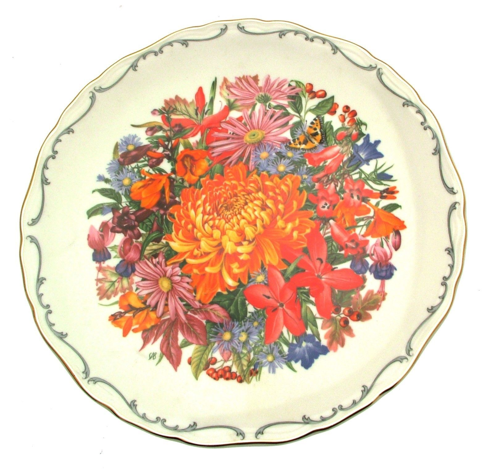 Royal Albert Autumn Glory Flower Festival Sara Anne Schofield Floral Plate