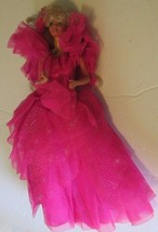 BARBIE Doll blonde hair wearing 1990 HAPPY HOLIDAY pink gown dress - $19.99