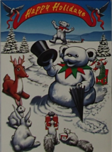 Grateful Dead Blank Holiday Card Liquid Blue GDM 1996 USA Snowman Bears ... - $7.49