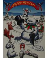 Grateful Dead Blank Holiday Card Liquid Blue GDM 1996 USA Snowman Bears ... - $7.49