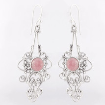 Pink Rhodochrosite 925 Sterling Silver Dangle Earrings, Handmade Jewelry... - $30.99