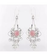 Pink Rhodochrosite 925 Sterling Silver Dangle Earrings, Handmade Jewelry... - $30.99