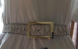 Michael Kors Belt VANILLA/BLACK Mk Logo Gold Rectangular Buckle Msrp $48 - $39.99