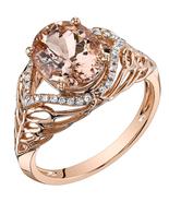 14K Rose Gold 2.50 Carat Oval Shape Morganite & Diamond Ring - $729.99