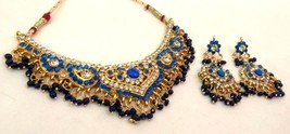 Indian Gold Plated Royal Blue Stone Beads Necklace Earrings Fashion Jewelry Set - $18.69
