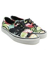 Vans Womens Black Floral Hawaiian Tropical Canvas Low Skate Sneakers Size 5 - £19.55 GBP