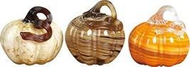 Swirl and Marbled Pumpkin 5 x 4 Inch Transpac Assorted Glass Figurines S... - $64.01