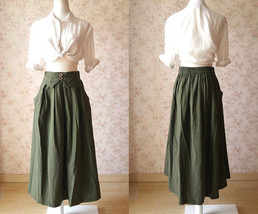 Women Army Green Linen Cotton Skirt Loose Linen Clothes Long Asymmetrical Skirts image 4