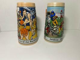 Budweiser Sports Series Football Gridiron & Basketball Hardwood Steins - $7.92