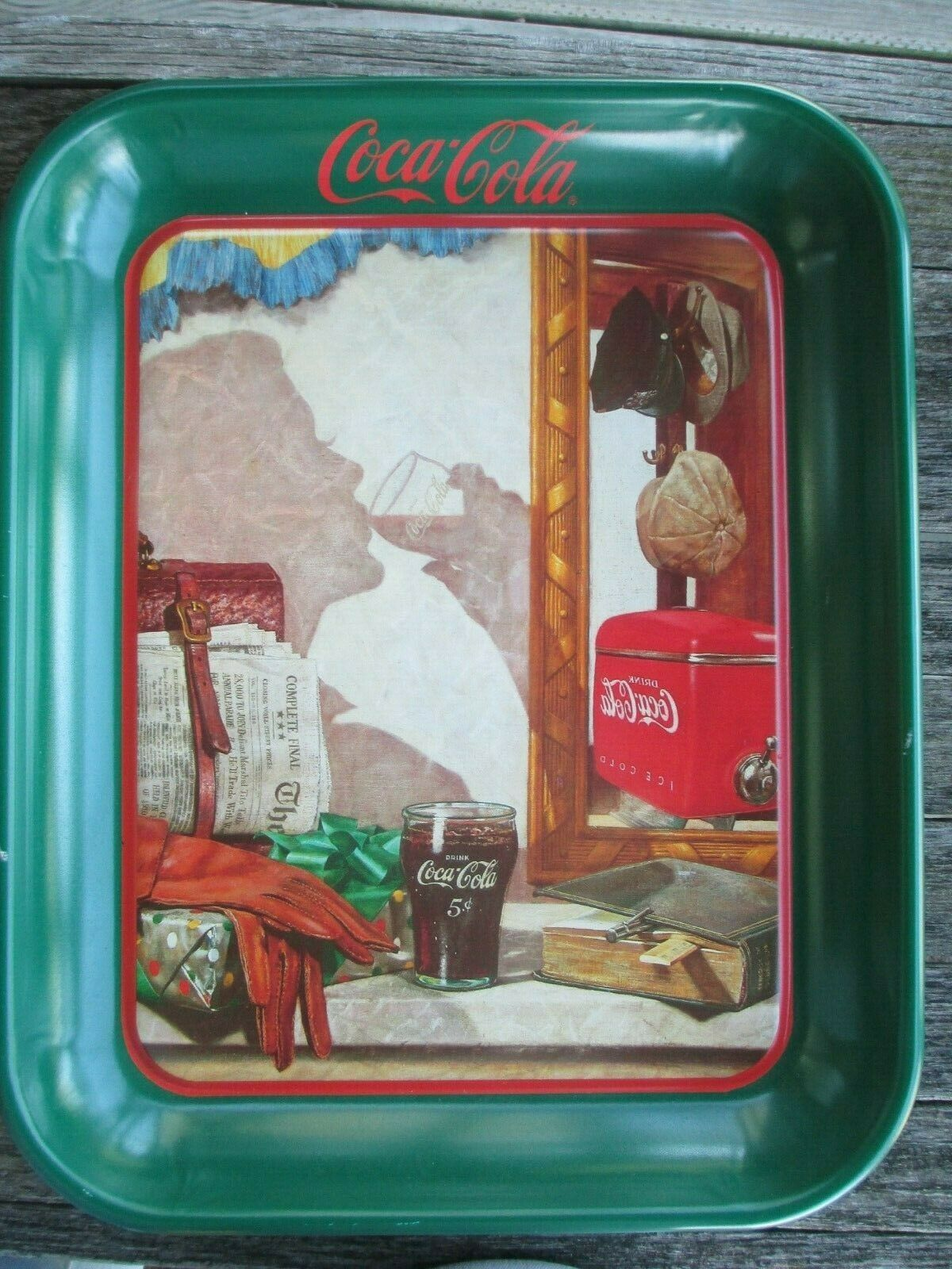 Primary image for Coca-Cola Tray Reflections in the Mirro Reproduction of 1950 Ad Art Issued 1993