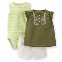 NEW NWT Carters Girls Island Shorts Set 3 6 or 9 Months Tunic Top Ruffles - $9.00