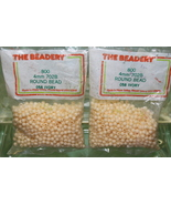 4mm ROUND BEADS THE BEADERY PLASTIC IVORY 2 PACKAGES 1,600 COUNT - $3.99