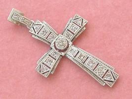 """ANTIQUE ART DECO .26ctw MINE ROSE DIAMOND PLATINUM SMALL 1.5"""" CROSS PEND... - $781.11"""