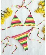 L*SPACE SWIM UNDER THE SUN RAINBOW STRIPE ITTY TRIANGLE BIKINI TOP (S) N... - €35,66 EUR