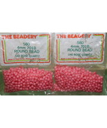 4mm ROUND BEADS THE BEADERY PLASTIC ROSE QUARTZ 2 PACKAGES 1,160 COUNT - $3.99