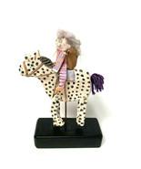 Hand Made OOAK Ceramic Girl On Horse Swinging Legs Yarn Tail Wool Hair H... - $33.86