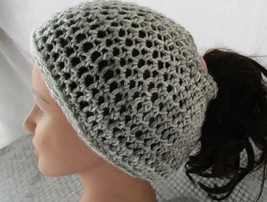 Messy Bun Ponytail Beanie Hat Shades of Light Gray Crochet - $15.95