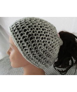 Messy Bun Ponytail Beanie Hat Shades of Light Gray Crochet - $15.95