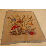 Beige Ladybug Butterfly Print Finished Needlepoint Cover / Upholstery Seat - $9.95