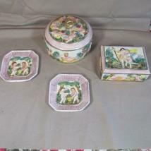 4 Pieces Vintage Capodimonte Round and Rectangle Box & 2 Square Trays, Set - $43.93