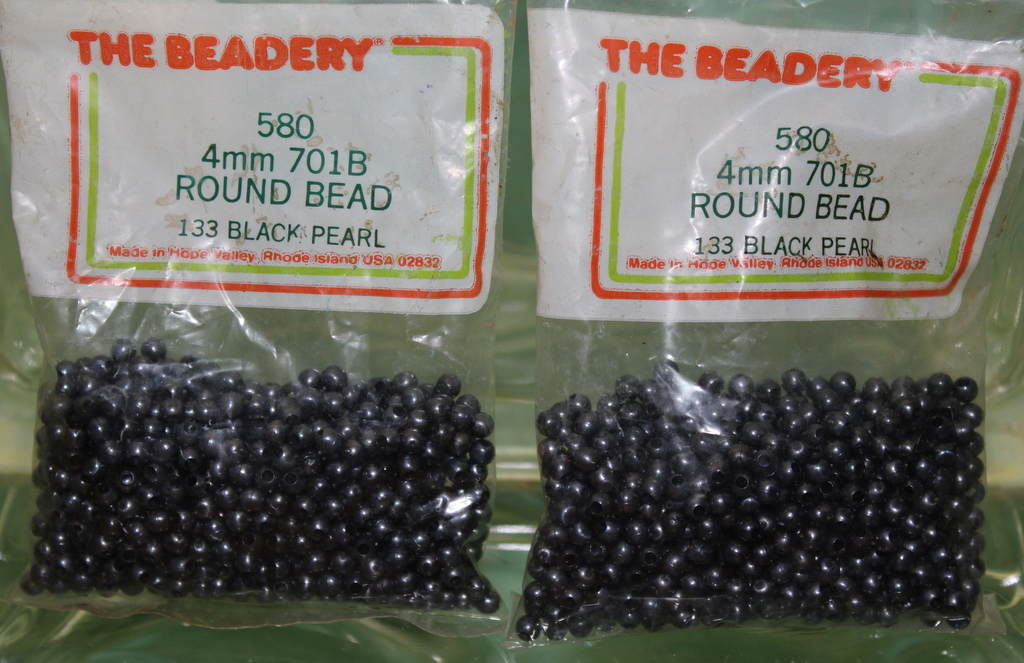 4mm ROUND BEADS THE BEADERY PLASTIC BLACK PEARL 2 PACKAGES 1,160 COUNT
