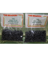 4mm ROUND BEADS THE BEADERY PLASTIC BLACK PEARL 2 PACKAGES 1,160 COUNT - $3.99