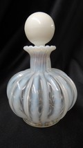 Vintage Fenton Art Glass Crystal Rib White Opalescent Perfume Bottle and... - $55.00