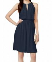 Adrianna Papell Navy Blue Sheath Chiffon Keyhole Blouson Dress - $32.00
