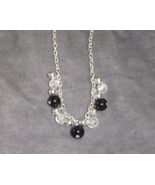 New Medium Bead Necklace Black, Clear and Silver Bead Necklace, 18 inch - $12.95