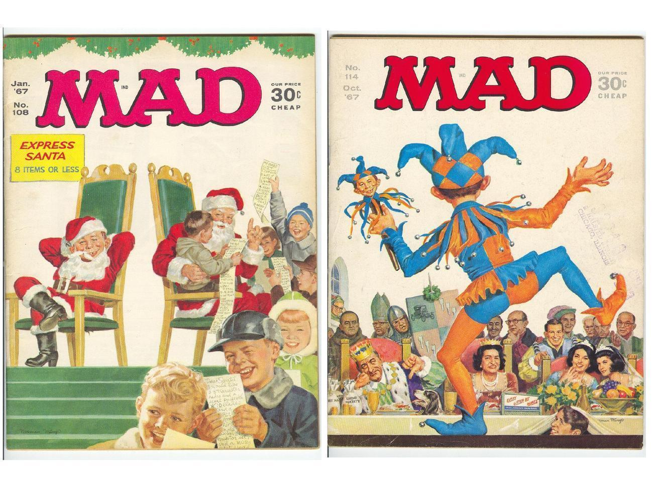 Primary image for Mad Magazines Pair 1967 No 108 Santa  No 114 Jester Issues from 1967