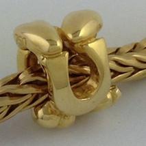 Authentic Trollbeads 18k Gold Letter U Bead Charm 21144u, New - $275.49
