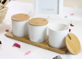 1Set Bamboo Cover White Contour Storage Ceramic... - $47.37