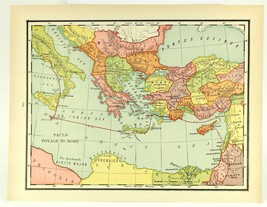 Vintage Biblical Map, Paul's Voyage to Rome, Colorful Rand McNally 1938 - $11.00