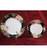 Fitz & Floyd CLOISONNE PEONY BLACK Dinner plate and Salad plate  - $27.67