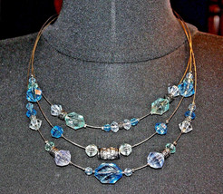 Napier 3 Strand Wire Necklace Blue Clear & Silver Beads Vintage Necklace - $18.02