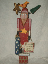 Russ Berrie Christmas Folk Art Wood Primitive Santa By Pat Moore Nwt Ret Mint - $55.77