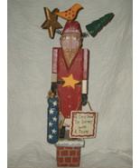 RUSS BERRIE CHRISTMAS FOLK ART WOOD PRIMITIVE SANTA by PAT MOORE NWT RET... - $55.77