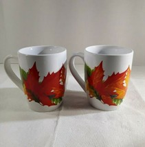 2 Royal Norfolk Coffee Mugs Cups Autumn Fall Leaves Greenbrier International  - $4.98