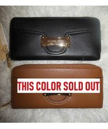 NEW Michael Kors Saratoga Continental Leather Zip Card Wallet Black OR L... - $88.00