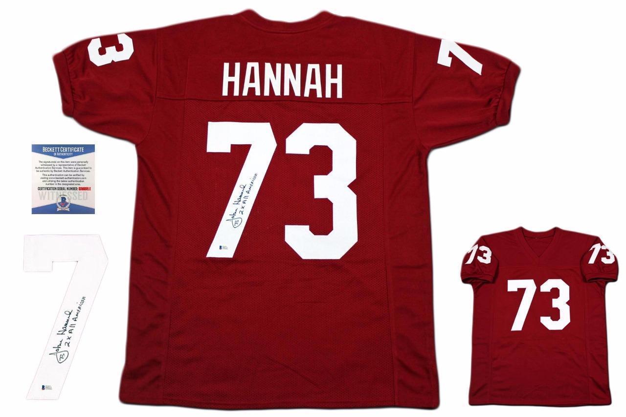 John Hannah Autographed SIGNED Jersey - Beckett Authentic - Crimson - $118.79